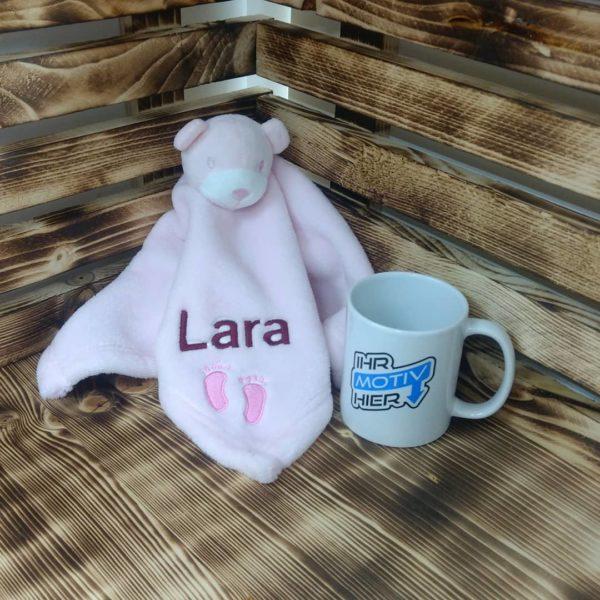 Kuscheltuch Bär rosa mit Stick