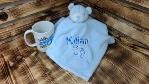 Kuscheltuch Bär blau mit Stick