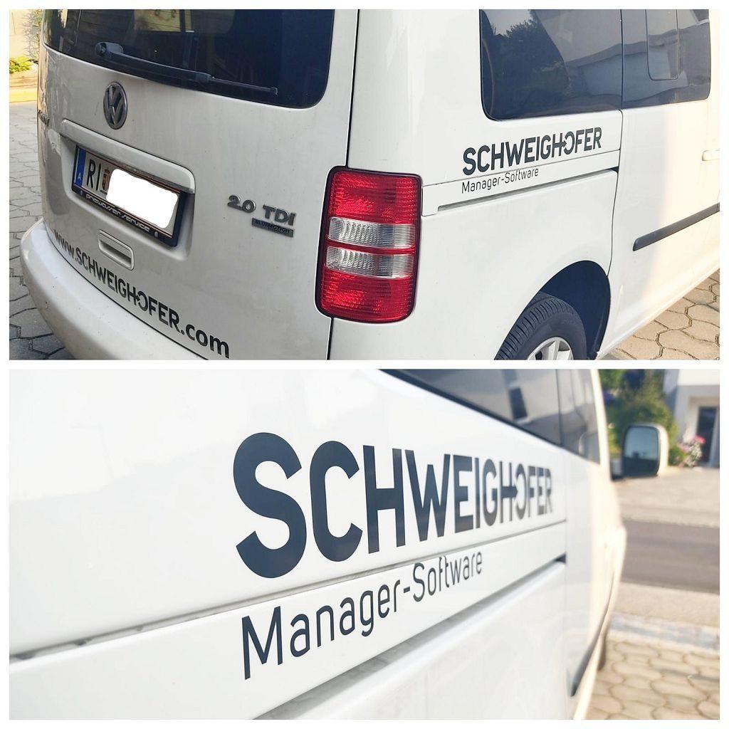 Autobeschriftung VW Caddy Schweighofer Manager Software