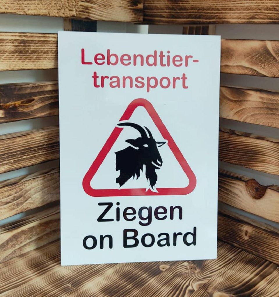 Aluschild Lebendtiertransport Ziegen on Board